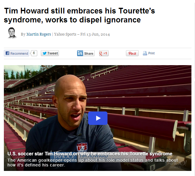 Tourette's coverage Yahoo Sports